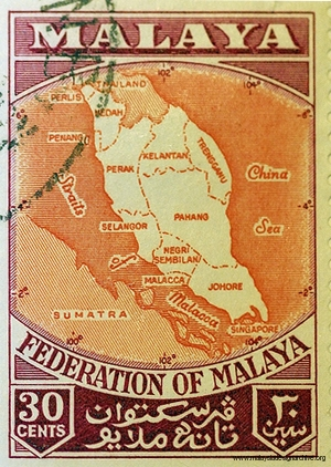 Federation of Malaya 30cent stamp