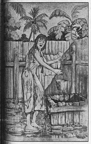 """""""Gadis Mandi di Perigi"""" lukisan oleh Kamsani."""