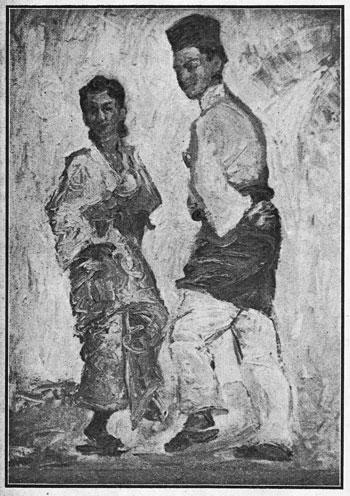"""Joget Melayu""; demikian sebuah lukisan ciptaan saudara Hoessein, Kuala Lumpur – salah satu hasil seni lukis yang dipamerkan."